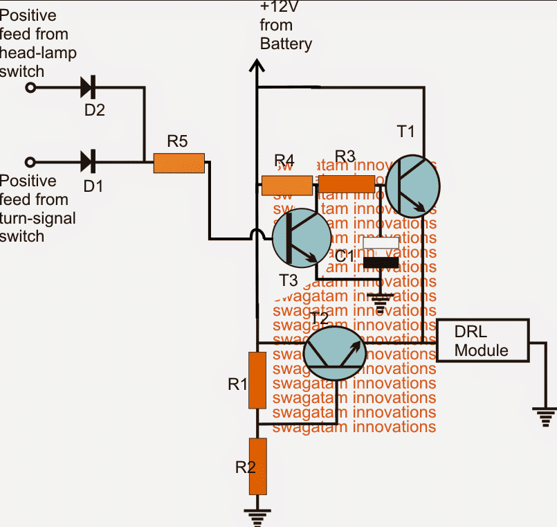 parts list for the above solid state automatic drl circuit: