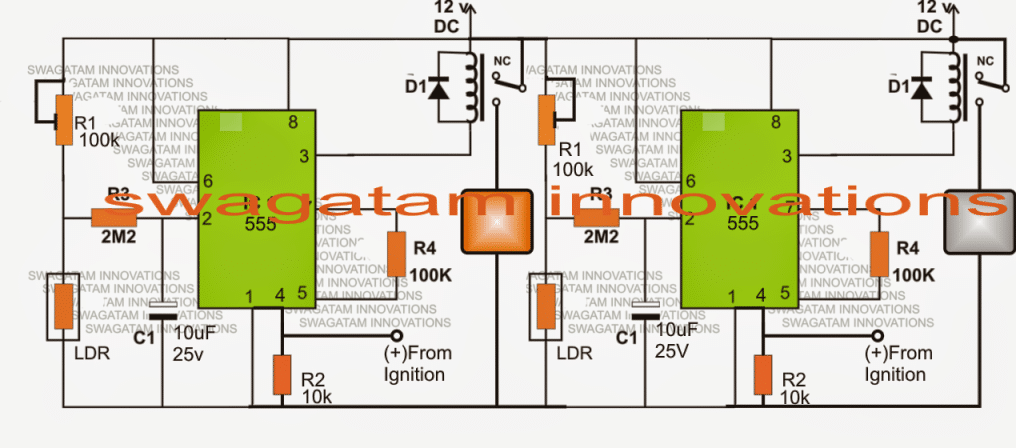 Ambient Light Sensitive Relay Switch Circuit for Car Head Lamp and DRL