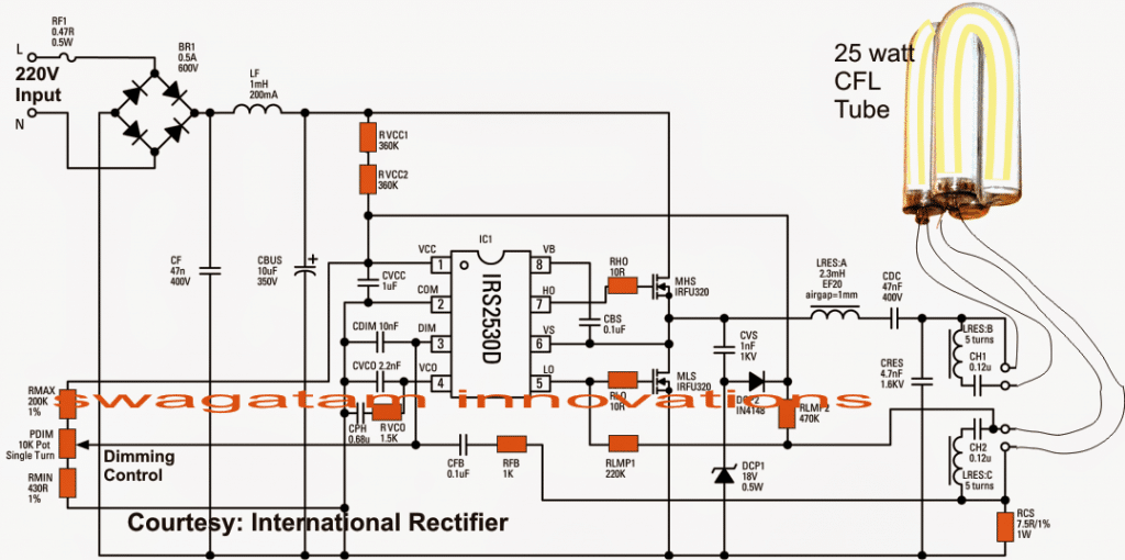 Dimmable Electronic Ballast Circuit Dimming feature included
