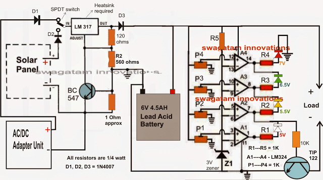 6V solar battery charger circuit with an automatic cut-off feature using 4 way LED indication,