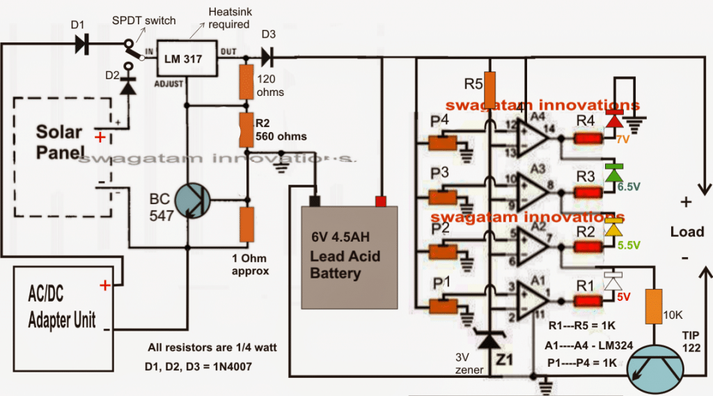 6v solar battery charger circuit 6v solar battery charger circuit with an automatic cut off feature using 4 way led publicscrutiny Images