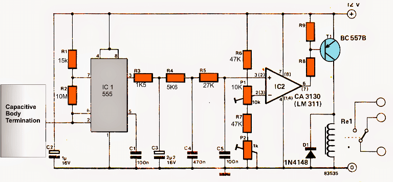ic 555 capacitive touch sensor circuit homemade circuit projectsic 555 capacitive switch circuit