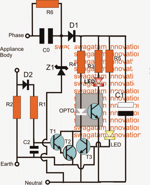 Earth Leakage Alarm Circuit