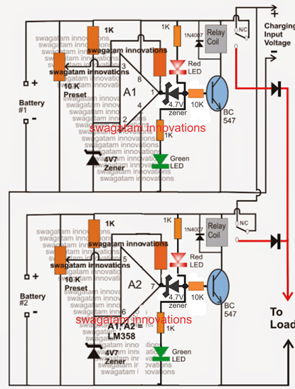 Twin or Split 12V Battery Charger Circuit with Auto-Changeover