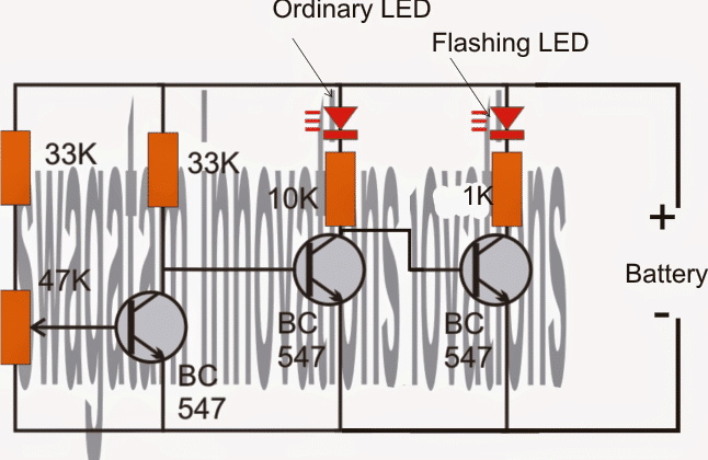 ON/OFF switching LED Battery Low Indicator Circuit
