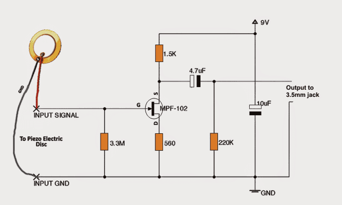 piezo guitar jack wiring diagram make this diy contact mic circuit homemade circuit projects  make this diy contact mic circuit