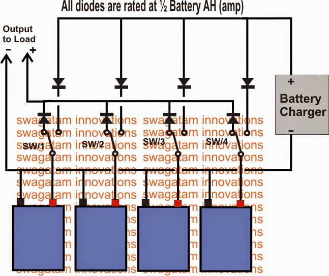 parallel battery charger with changeover circuit using SPDT switches