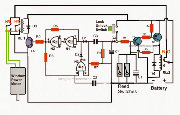 How To Make A Car Power Window Controller Circuit Homemade Circuit Projects