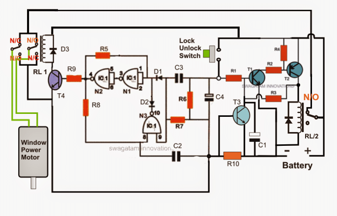 Electronic Car Power Window Controller Circuit