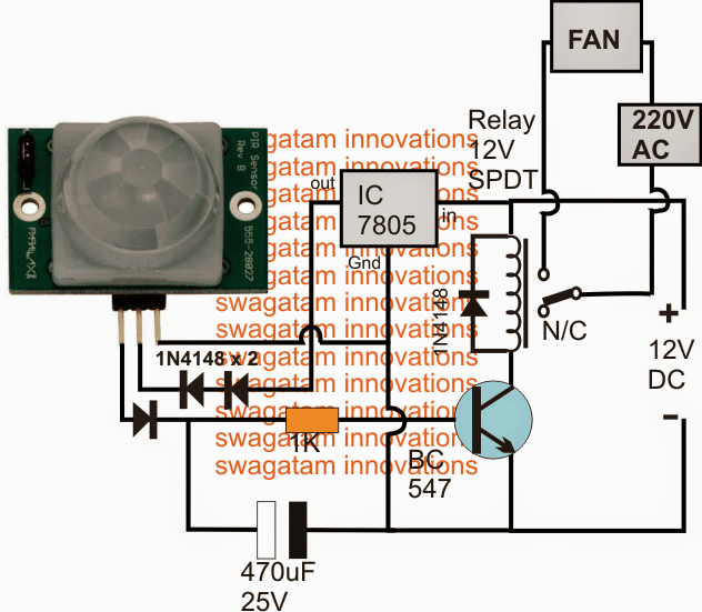 Pir Ceiling Fan Controller Circuit Homemade Circuit Projects