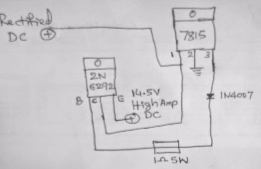 single transistor high current battery charger circuit