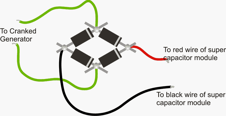 How to connect bridge rectifier with super capacitor