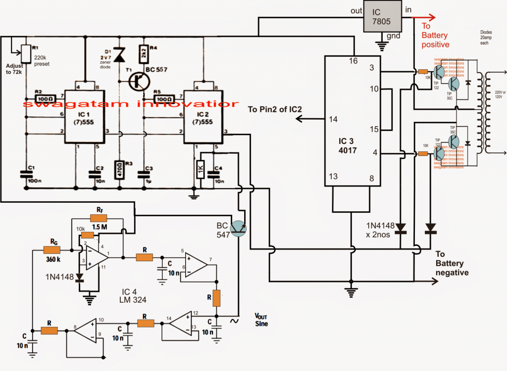 Sine Wave Inverter Using Bubba Oscillator 500 W Circuit Diagram