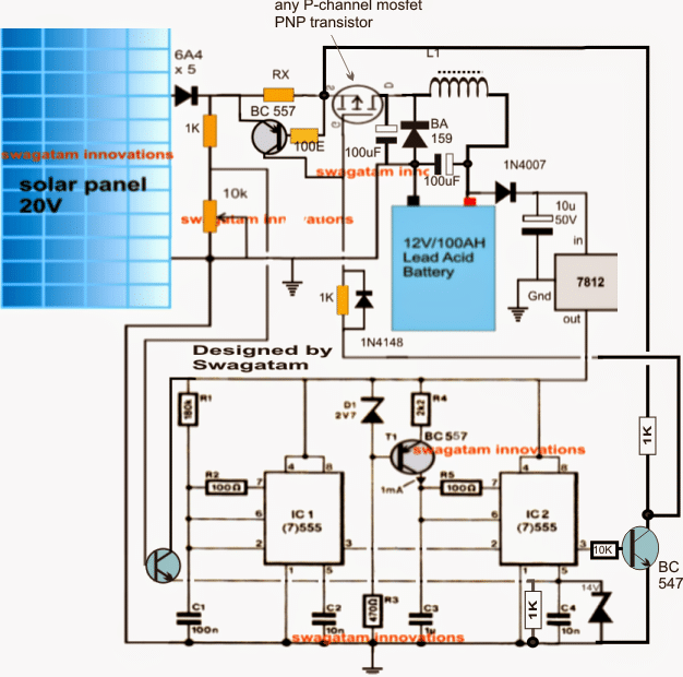 solar battery charger circuit with buck converter circuit