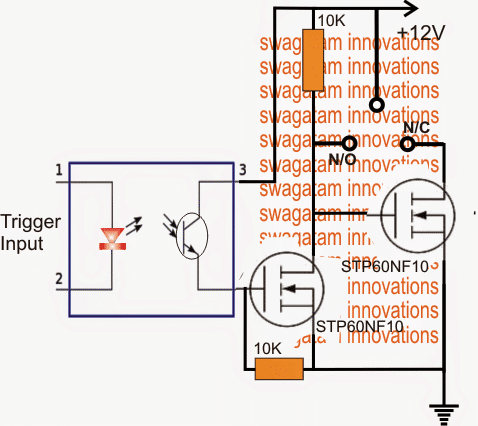 SPDT Solid State Relay Circuit using Mosfets For Heavy Duty Loads