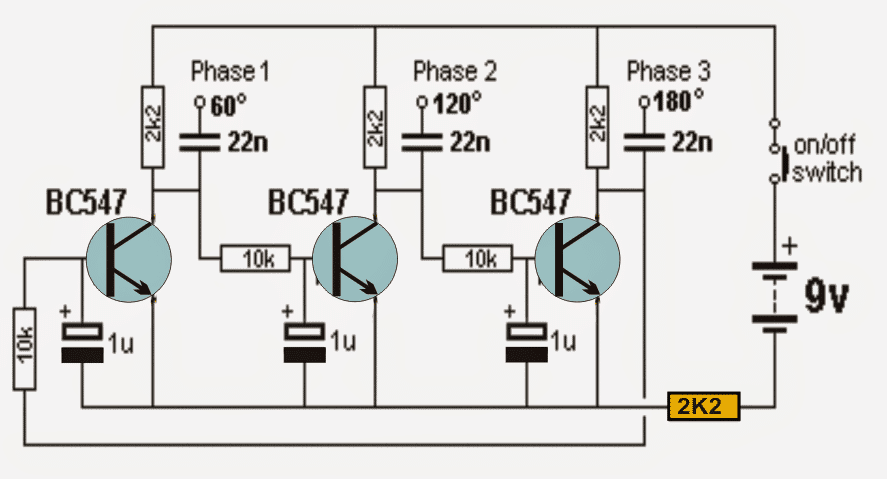 Transistor based 3 Phase Sine Wave Generator Circuit | Homemade