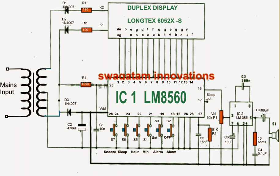 [ANLQ_8698]  Simple Digital Clock using LM8650 IC Circuit | Homemade Circuit Projects | Wiring Diagram For Electric Wall Clock |  | Homemade Circuit Projects