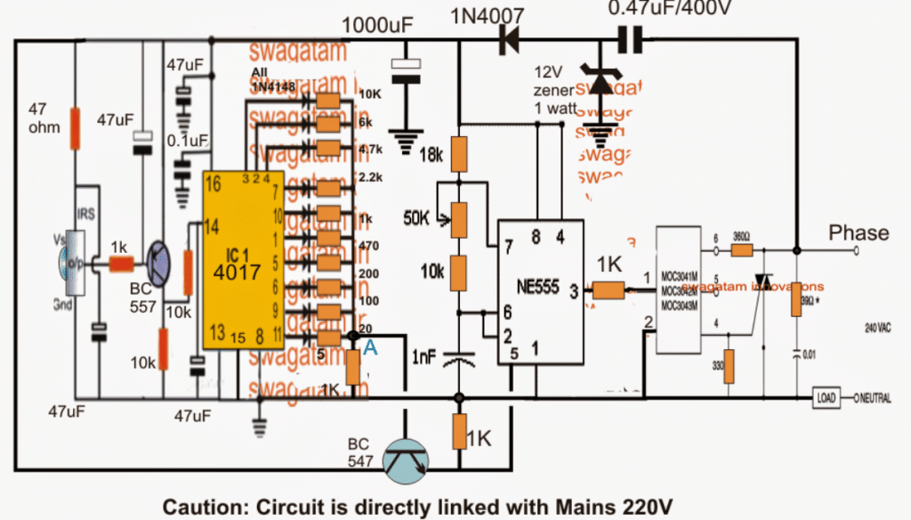 Remote Controlled Ceiling Fan Regulator Circuit Homemade Triac Diagram The Takes Help Of A Moc3031 Driver Stage For Enforcing Hassle Free And Clean Control Through Handset