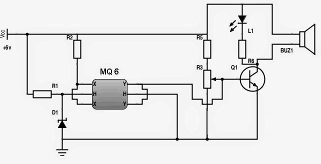 simple MQ-6 gas sensor circuit