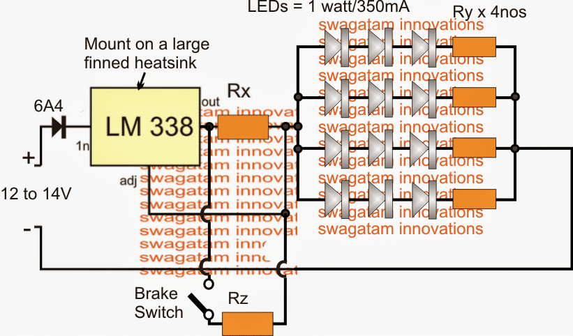 LED brake light circuit dimming when vehicle is running without brakes
