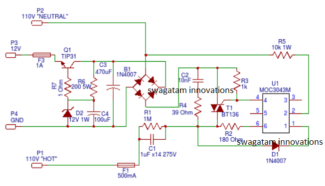 capacitive transformerless power supply with zero crossing detection