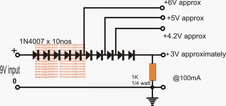 Making 3 3v  5v Voltage Regulator Circuit With Diodes And