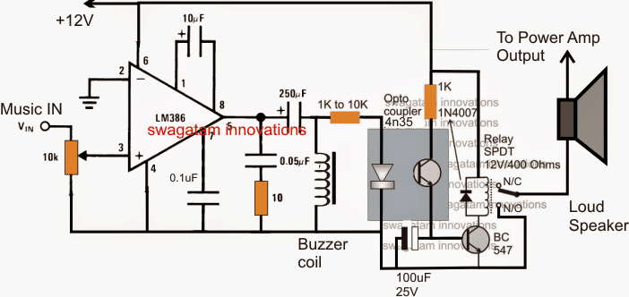 music triggered amplifier speaker circuit homemade circuit projects