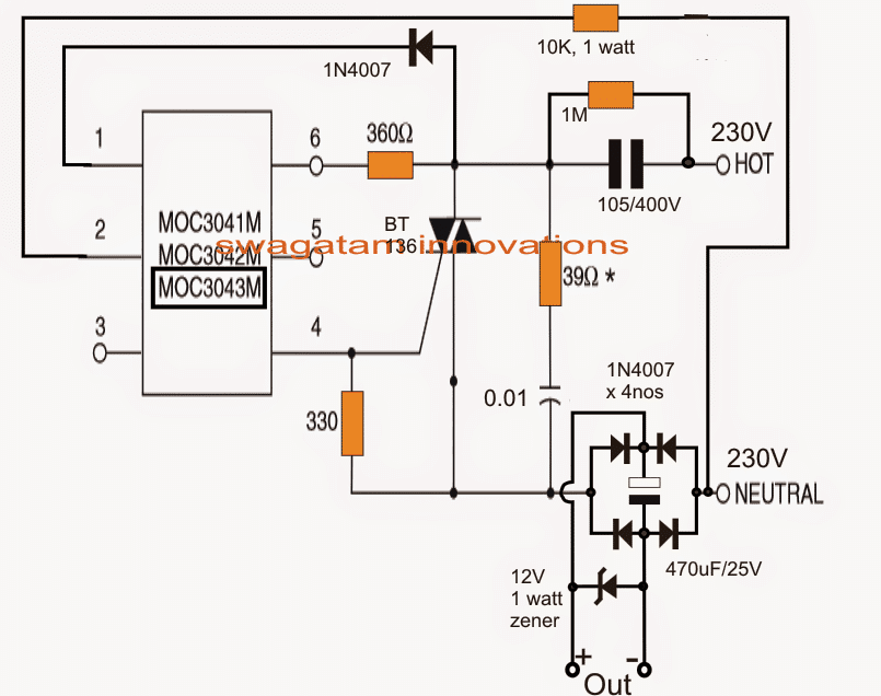 zero crossing controlled transformerless power supply circuit