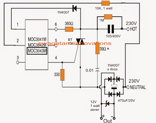 surge free transformerless power supply circuit using zero crossing controlled triac driver MOC3041