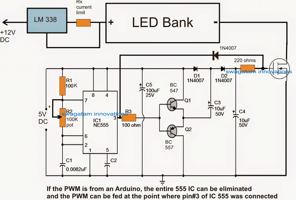 pwm led light intensity controller circuit