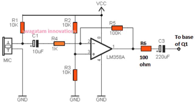 opamp based MIC amplifier circuit