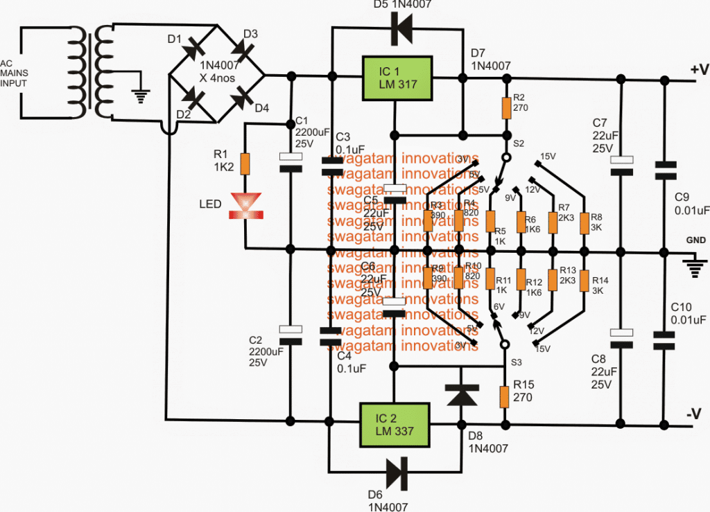 Adjustable 3v 5v 6v 9v 12v 15v Dual Power Supply Circuit Homemade Circuit Projects