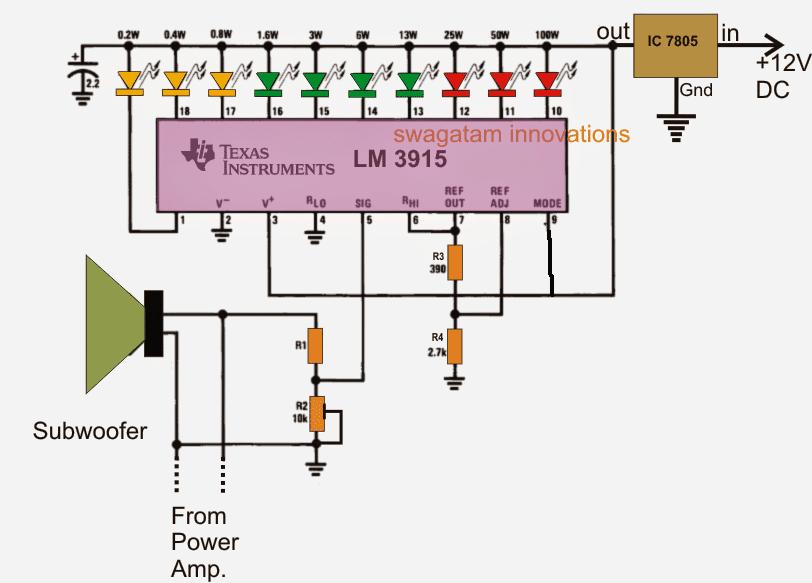 Subwoofer Music Level Indicator Circuit | Homemade Circuit ...