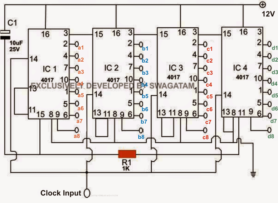 simple scrolling rgb led circuit