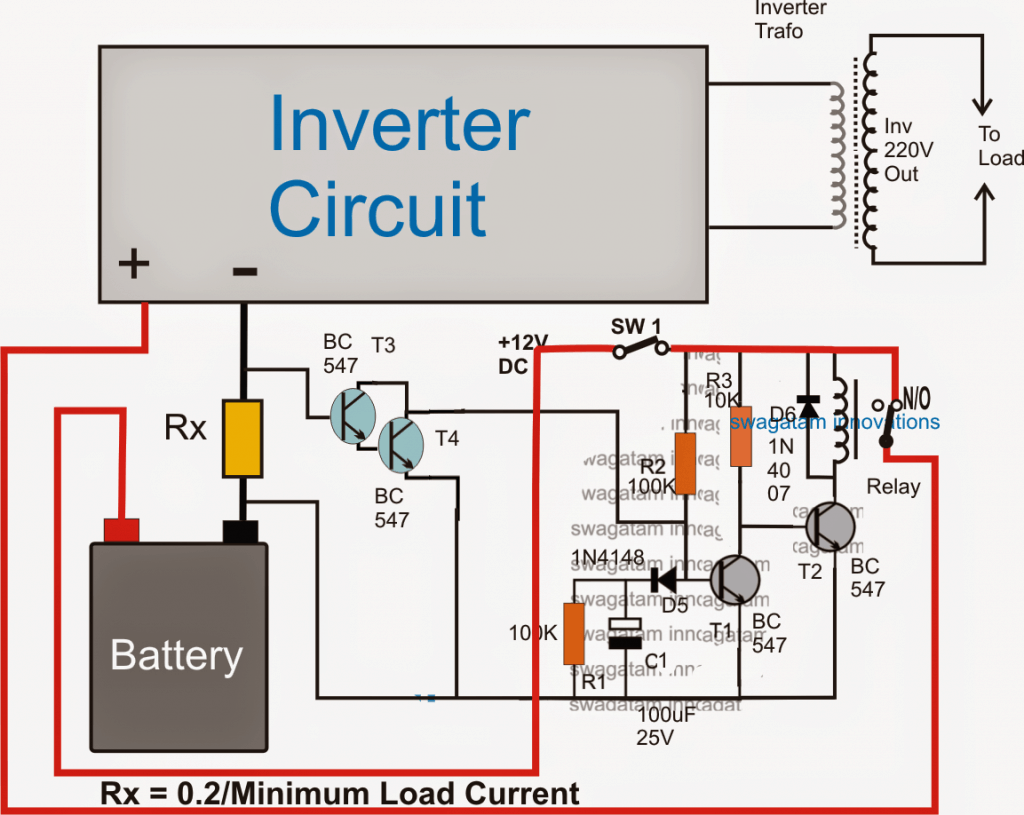 inverter with battery low and overload indicator circuit