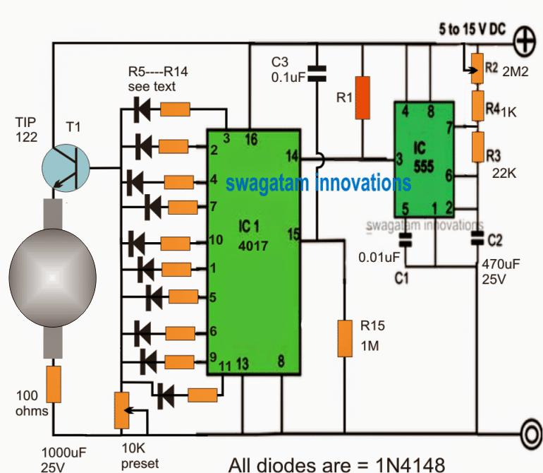Rotating Beacon LED Circuit using IC 555 and IC 4017
