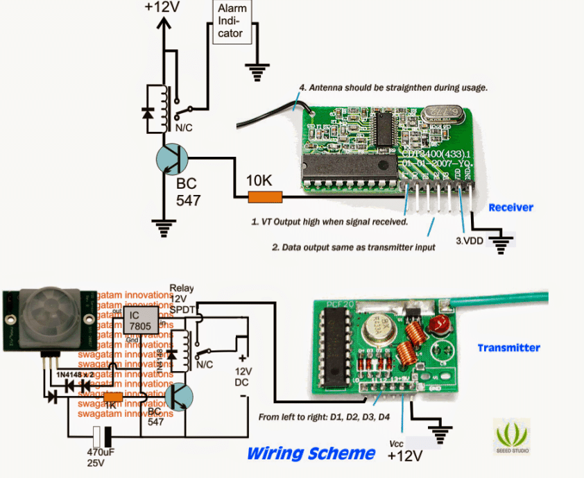 wireless home security circuit solar powered