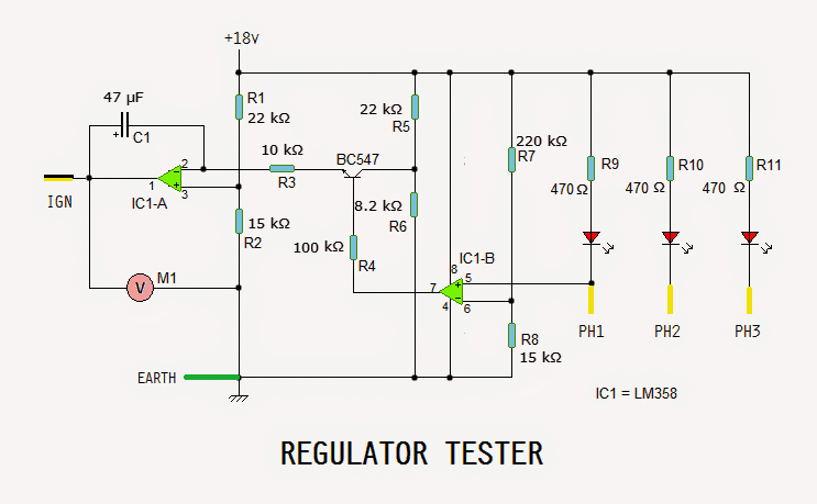 Motorcycle Regulator, Rectifier Tester Circuit