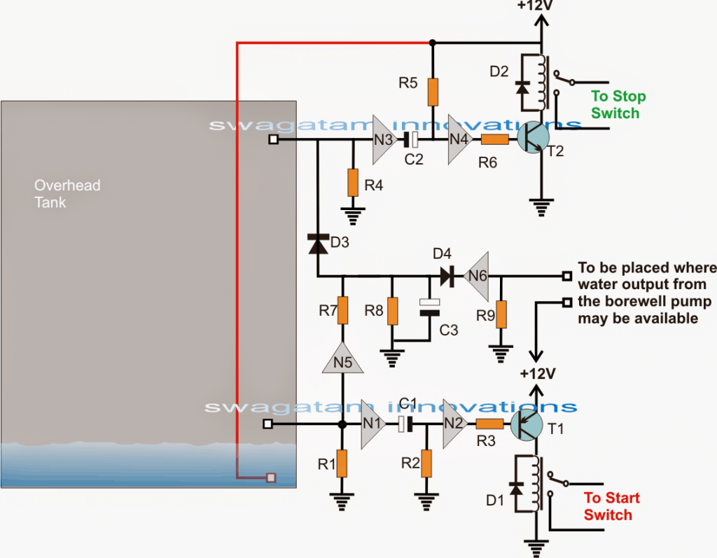 Submersible Pump Start Stop Circuit Homemade Circuit Projects