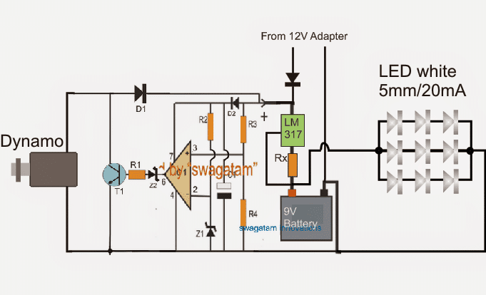 a circuit diagram of 9v rechargeable lantern using dynamo and also electric current thanks i will be grateful if you respond back immediately you can