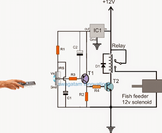 remote controlled fish feeder circuit for implementing a remote operated fish feeding