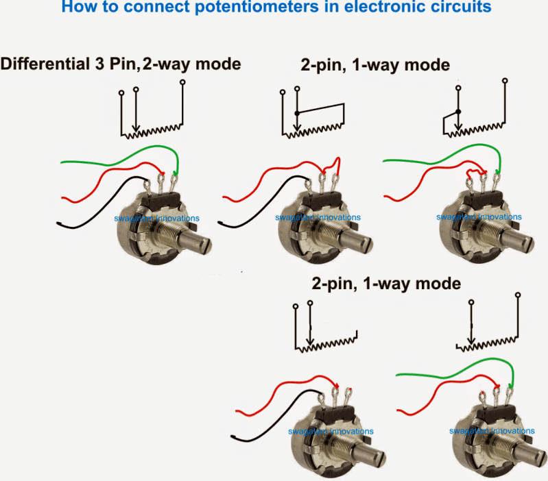 how to connect potetiometer in 3 pin mode and 2 pin mode
