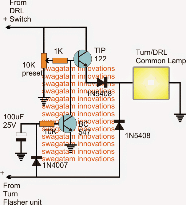 DRL and Turn Lights with Single Common Lamp
