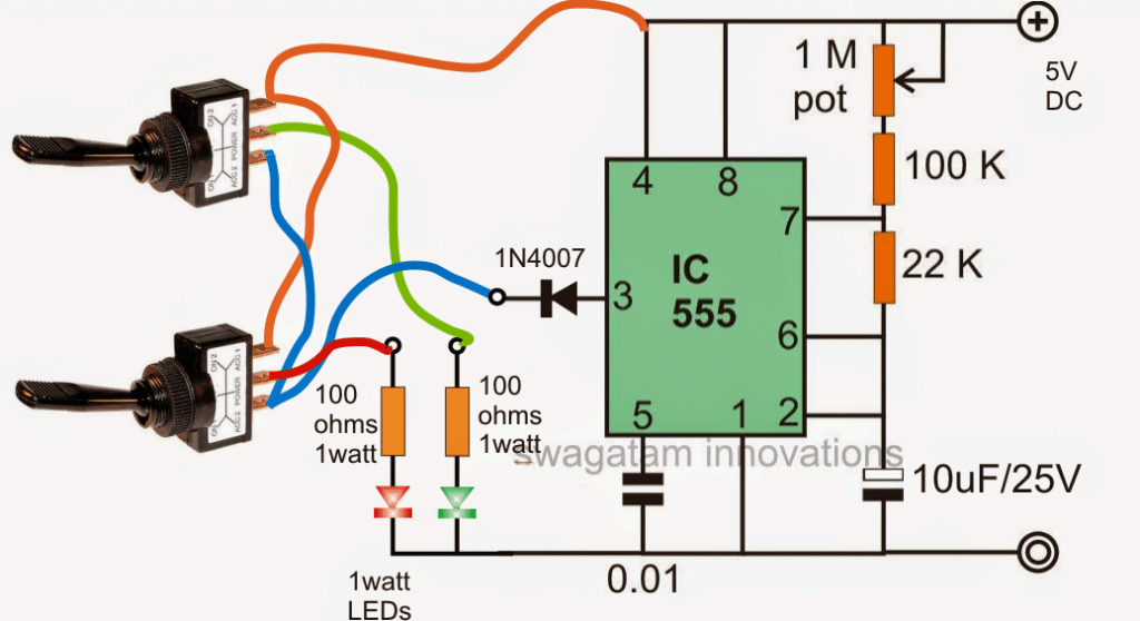 Flashing Red, Green Railway Signal Lamp Circuit