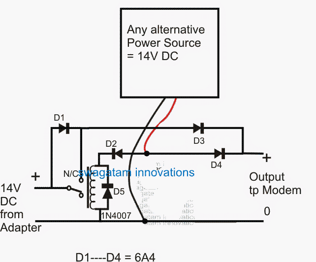redundant UPS circuit with alternative power source