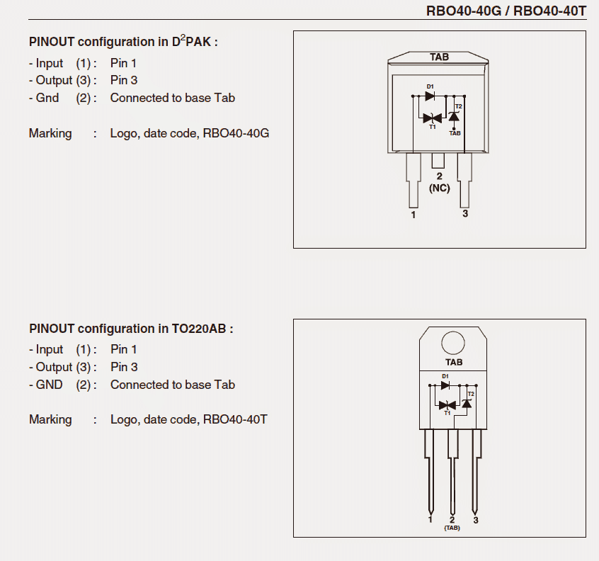 pinout configuration or the connection details of  40 amp diode
