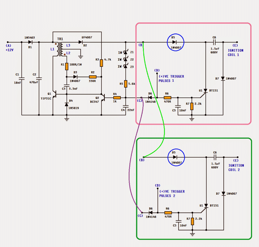 DC CDI  sharing a common HV converter circuit