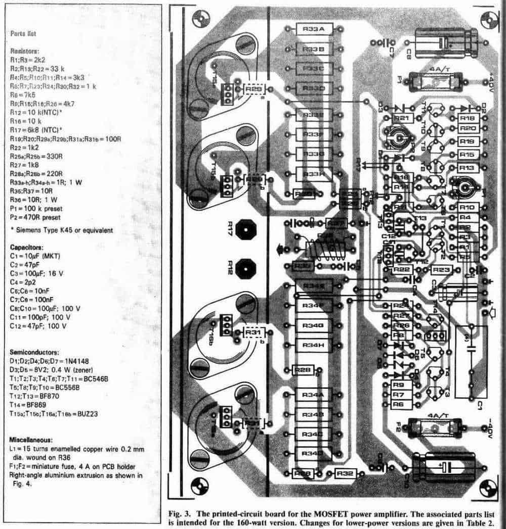 60W, 100W, 150W, 250W Power Amplifier PCB design