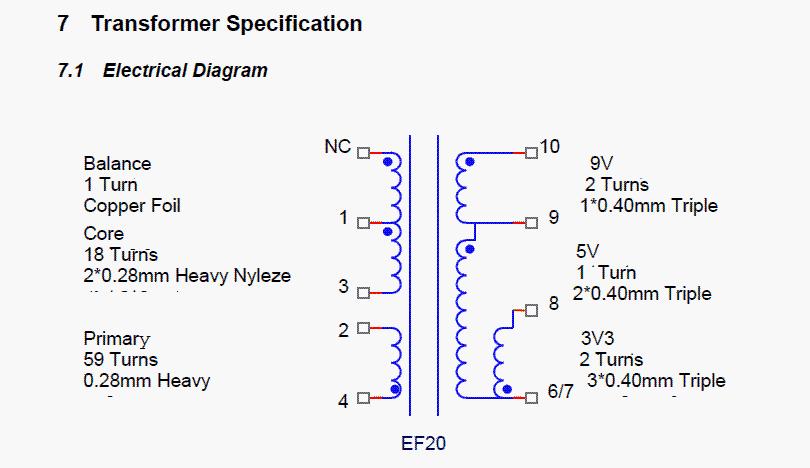 3.3V, 5V, 9V SMPS Transformer Winding  Details