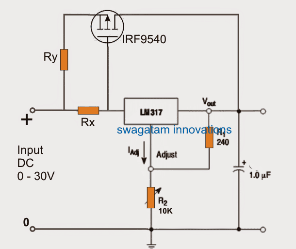 lm317 with outboard current boost circuit